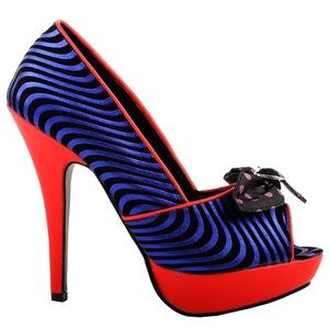 Size 8 Unique Electric Blue & Red Heels